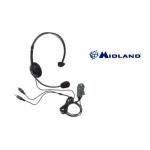 Midland MA 35 Σετ ακουστικών κεφαλής με μικρόφωνο σε ρυθμιζόμενο βραχίονα και κλιπ με κουμπί PTT.