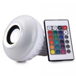 Έξυπνη λάμπα LED E27 με ηχείο και σύνδεση bluetooth που αλλάζει χρώματα και παίζει μουσική.