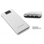 Power bank 5V/30000mAh με 3 θύρες USB και LCD οθόνη - Λευκό