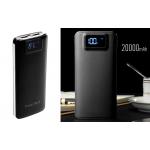Power bank 5V/20000mAh με 2 θύρες USB, φακό και LCD οθόνη - Μαύρο